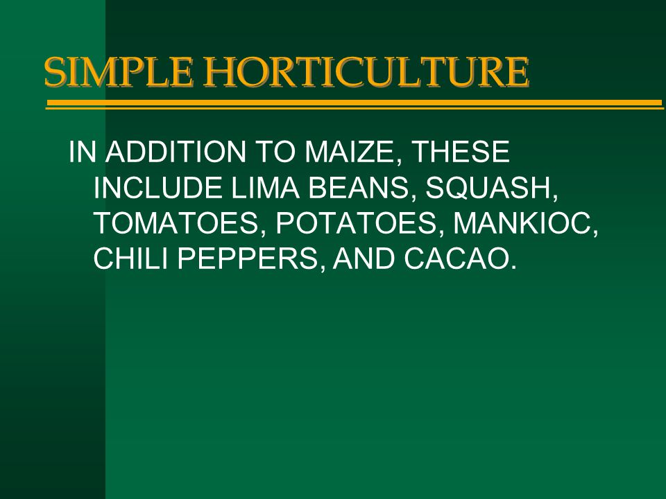 SIMPLE HORTICULTURE IN ADDITION TO MAIZE, THESE INCLUDE LIMA BEANS, SQUASH, TOMATOES, POTATOES, MANKIOC, CHILI PEPPERS, AND CACAO.