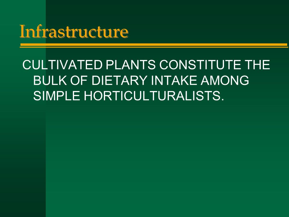 Infrastructure CULTIVATED PLANTS CONSTITUTE THE BULK OF DIETARY INTAKE AMONG SIMPLE HORTICULTURALISTS.
