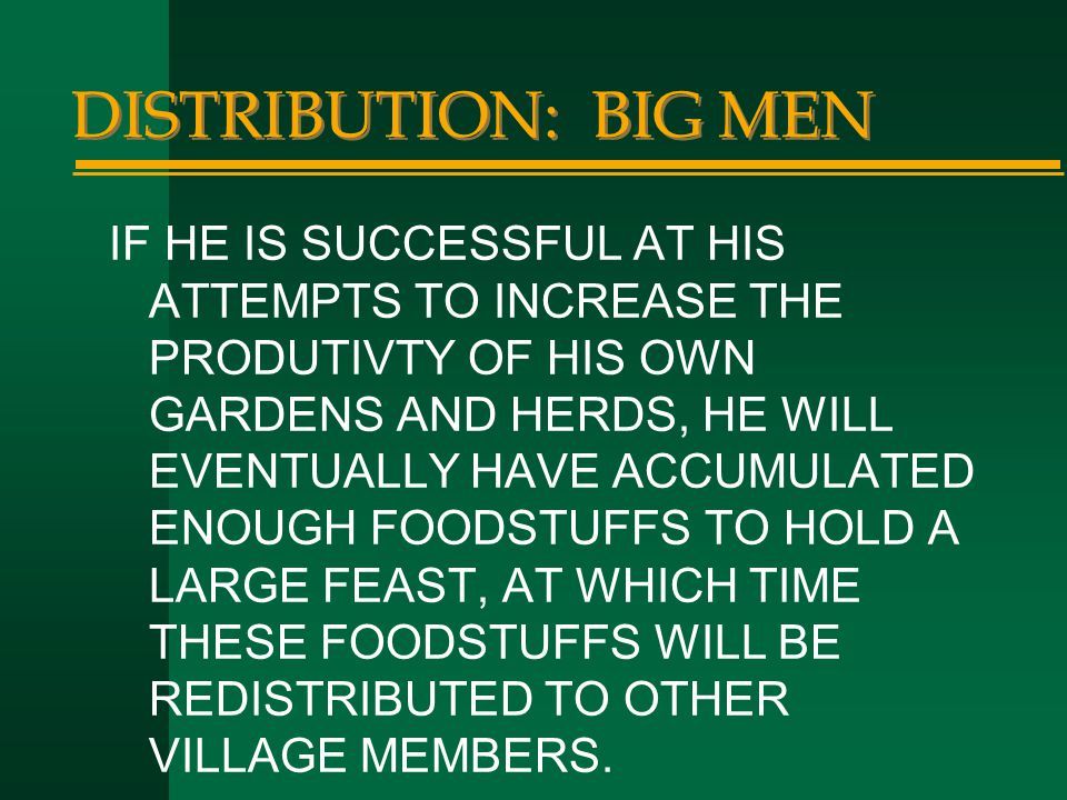 DISTRIBUTION: BIG MEN
