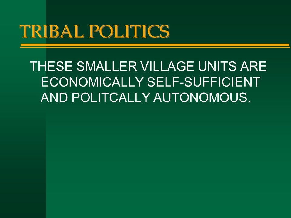 TRIBAL POLITICS THESE SMALLER VILLAGE UNITS ARE ECONOMICALLY SELF-SUFFICIENT AND POLITCALLY AUTONOMOUS.
