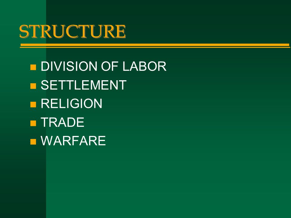 STRUCTURE DIVISION OF LABOR SETTLEMENT RELIGION TRADE WARFARE