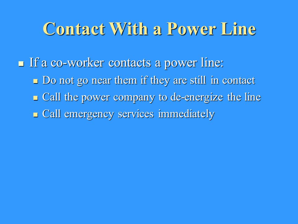 Contact With a Power Line