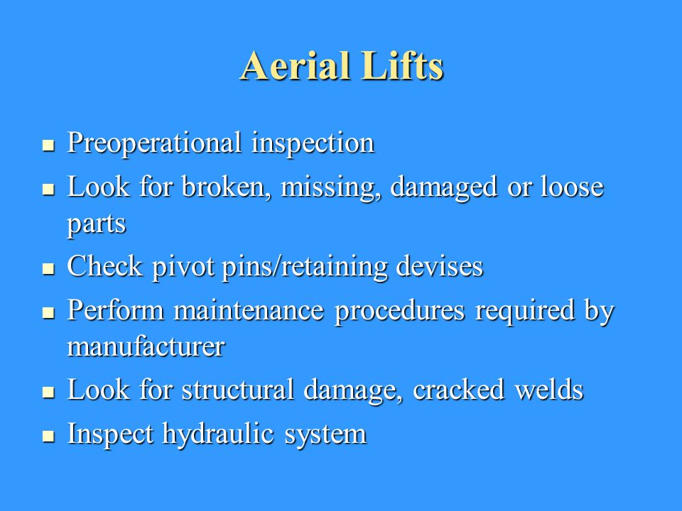 Aerial Lifts Preoperational inspection