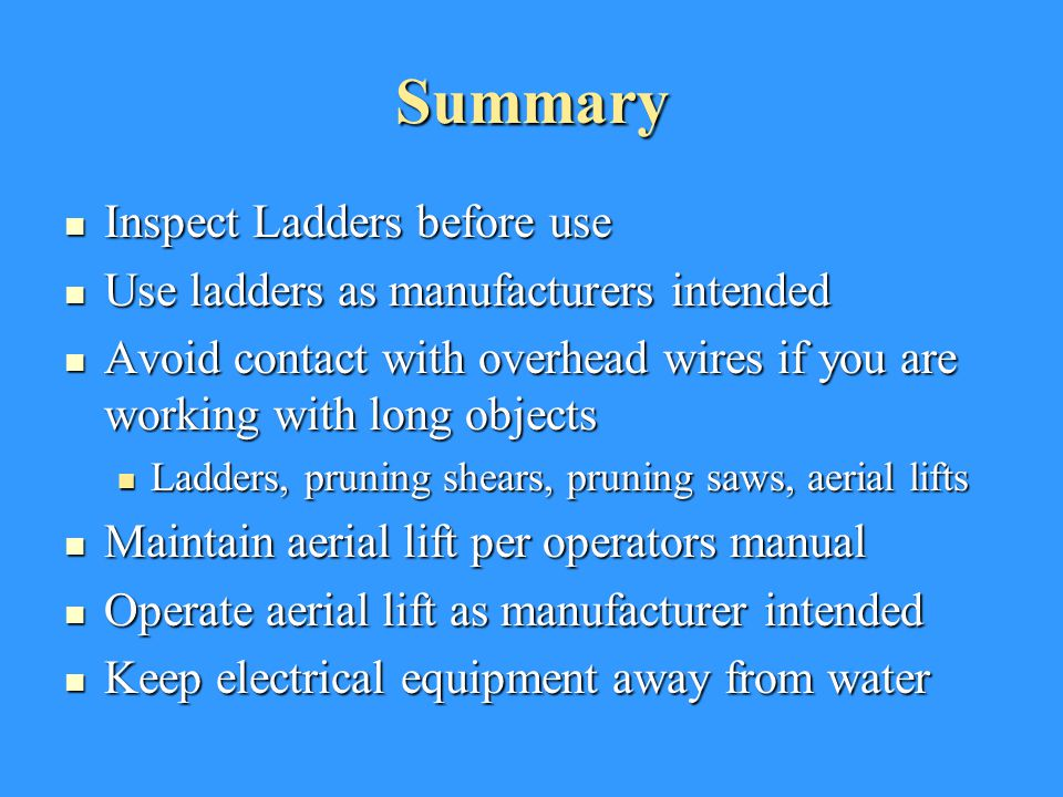 Summary Inspect Ladders before use