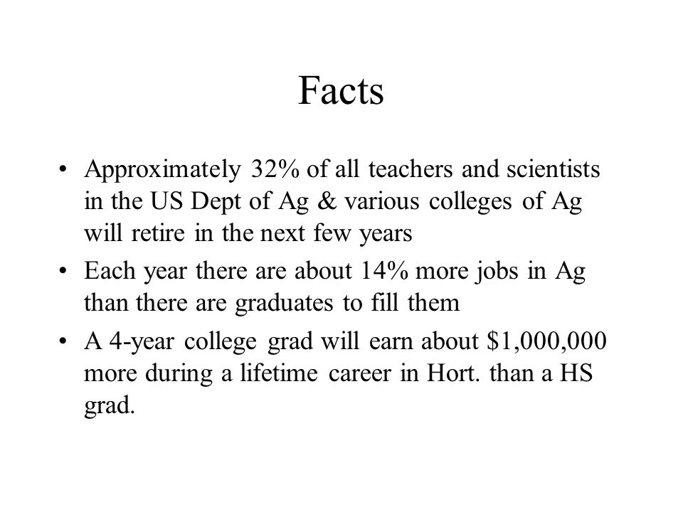 Facts Approximately 32% of all teachers and scientists in the US Dept of Ag & various colleges of Ag will retire in the next few years.