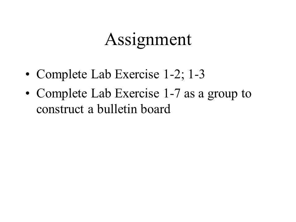 Assignment Complete Lab Exercise 1-2; 1-3