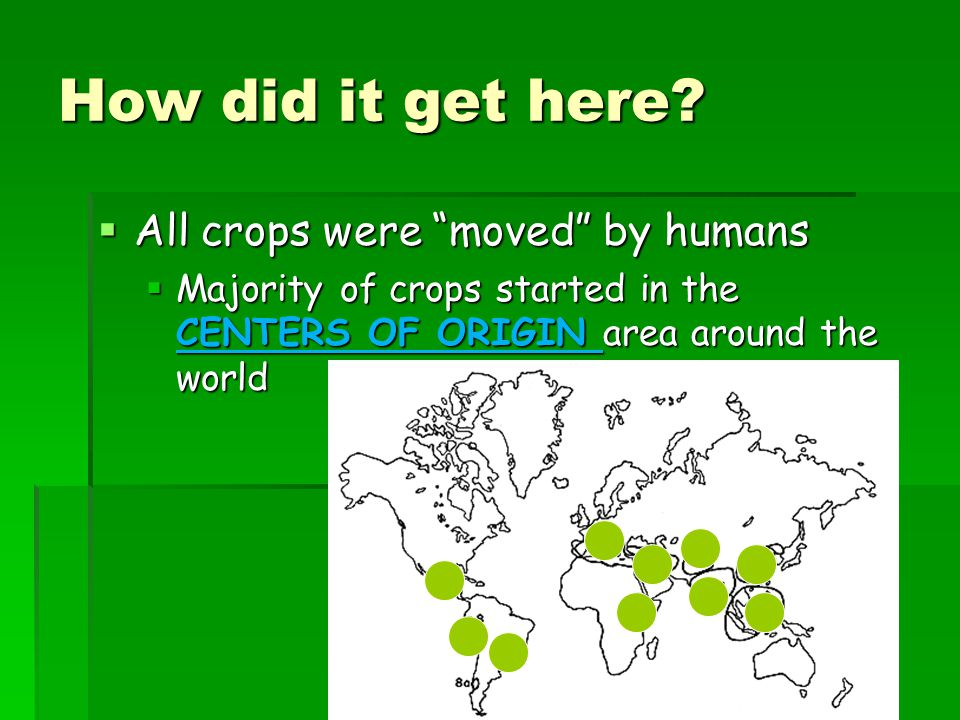 How did it get here All crops were moved by humans