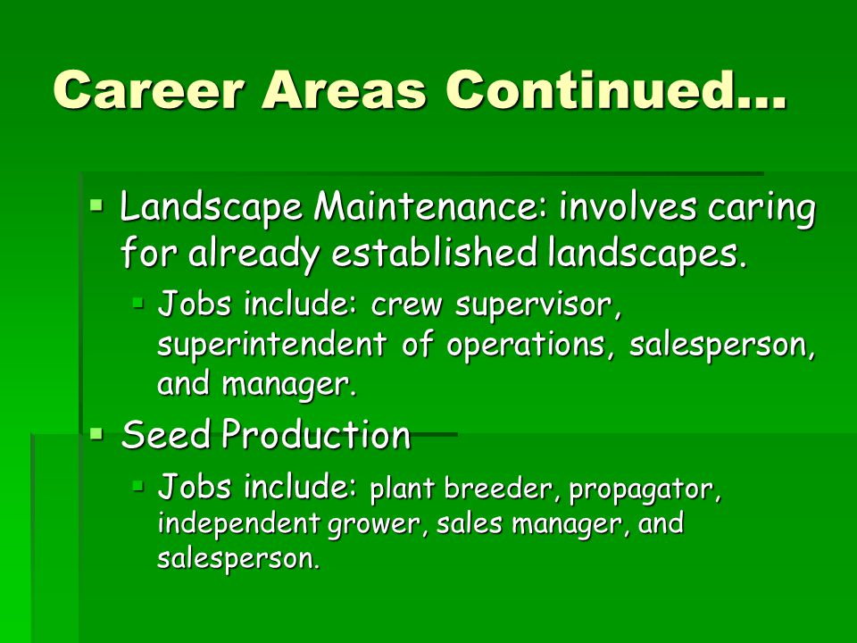 Career Areas Continued…