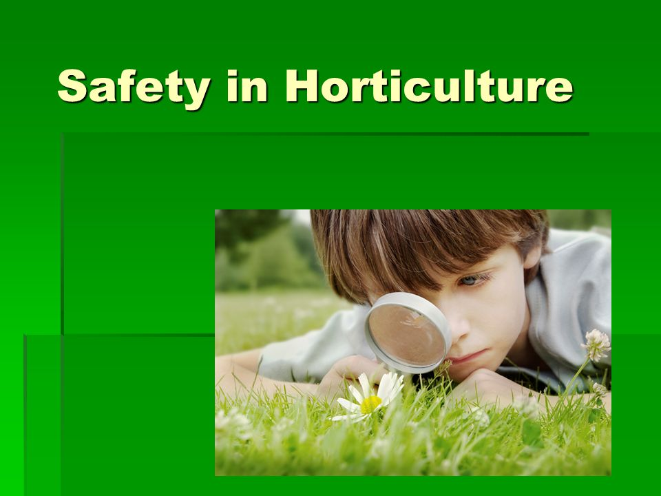 Safety in Horticulture