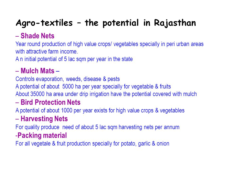 Agro-textiles – the potential in Rajasthan