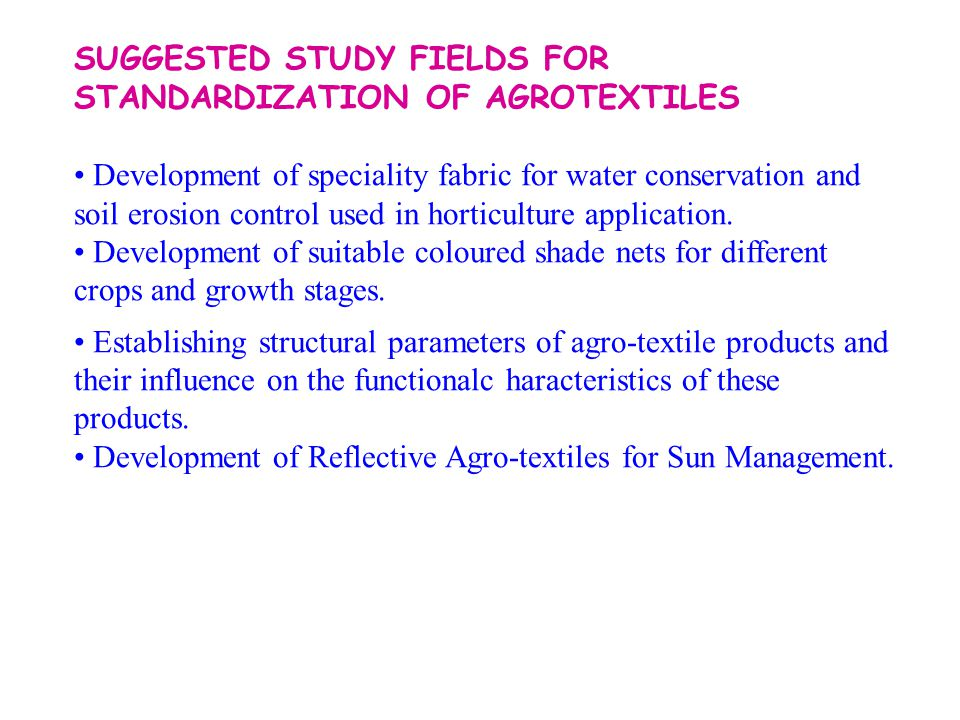 SUGGESTED STUDY FIELDS FOR