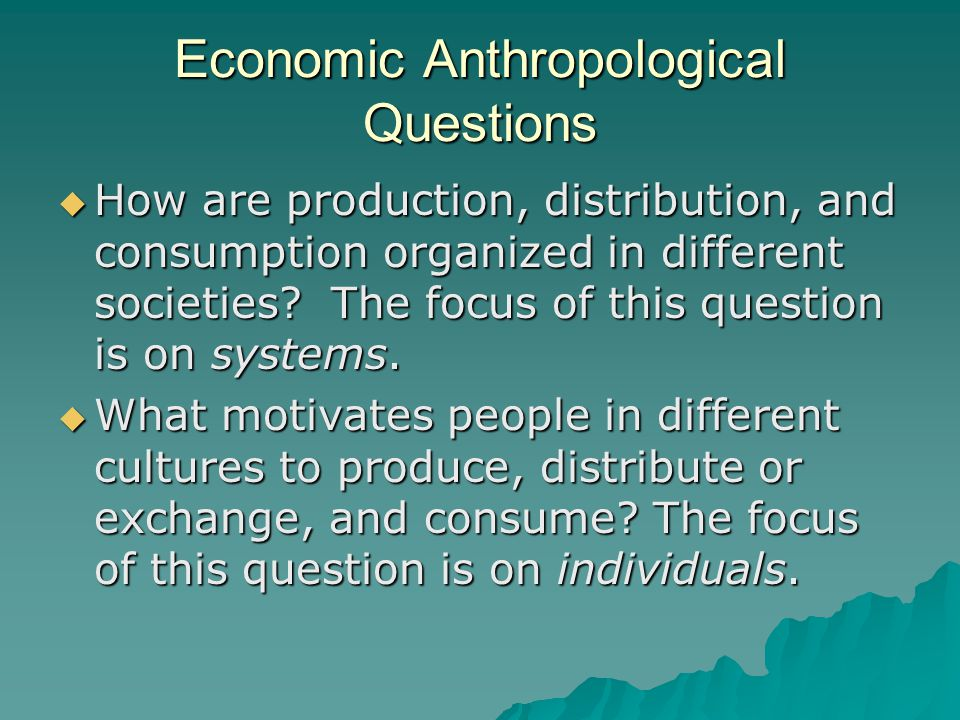 Economic Anthropological Questions