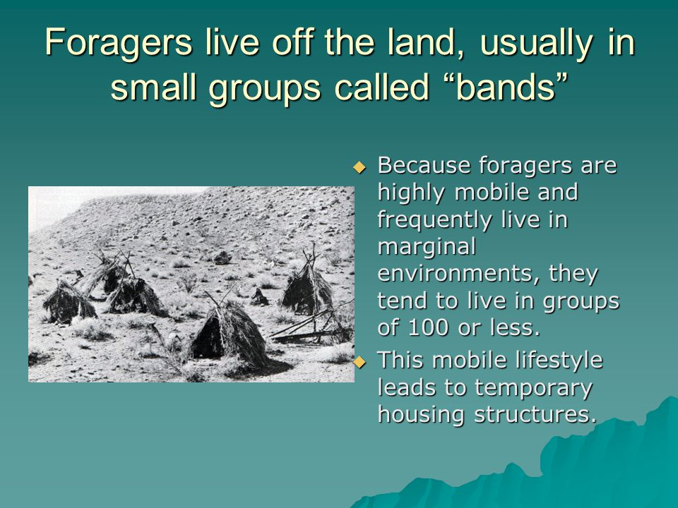 Foragers live off the land, usually in small groups called bands