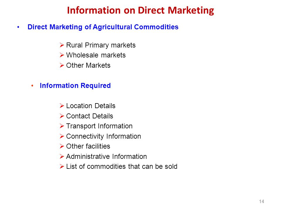 Information on Direct Marketing