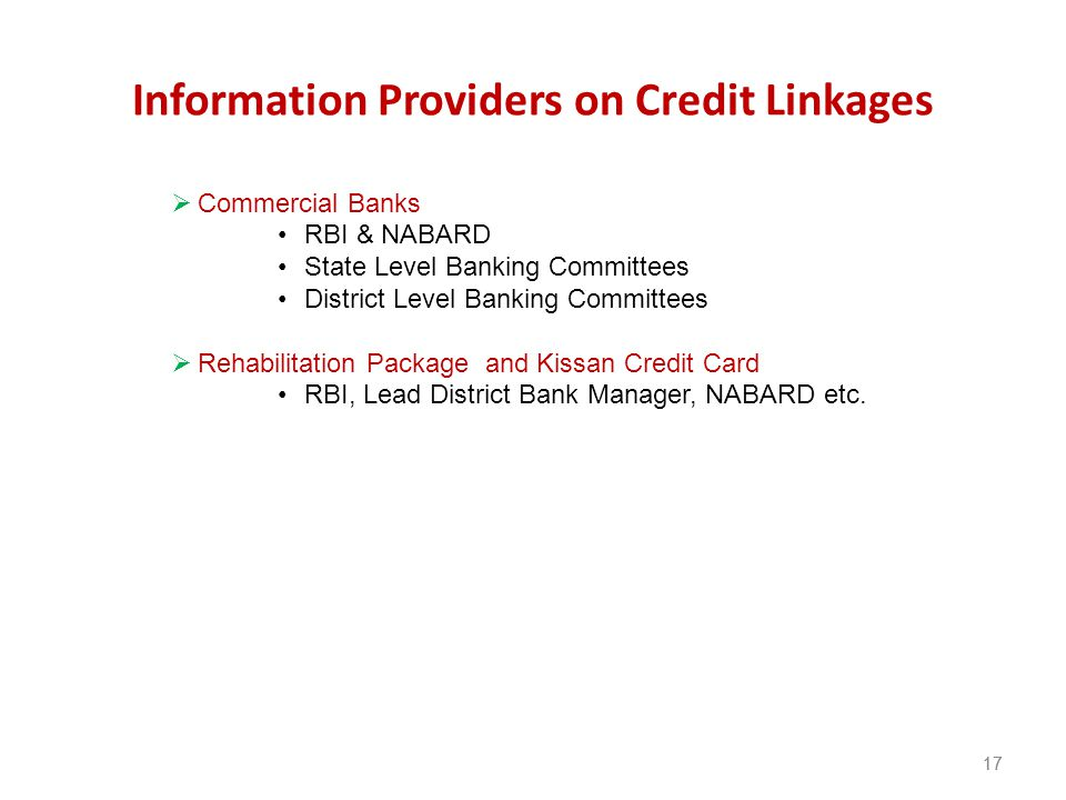Information Providers on Credit Linkages