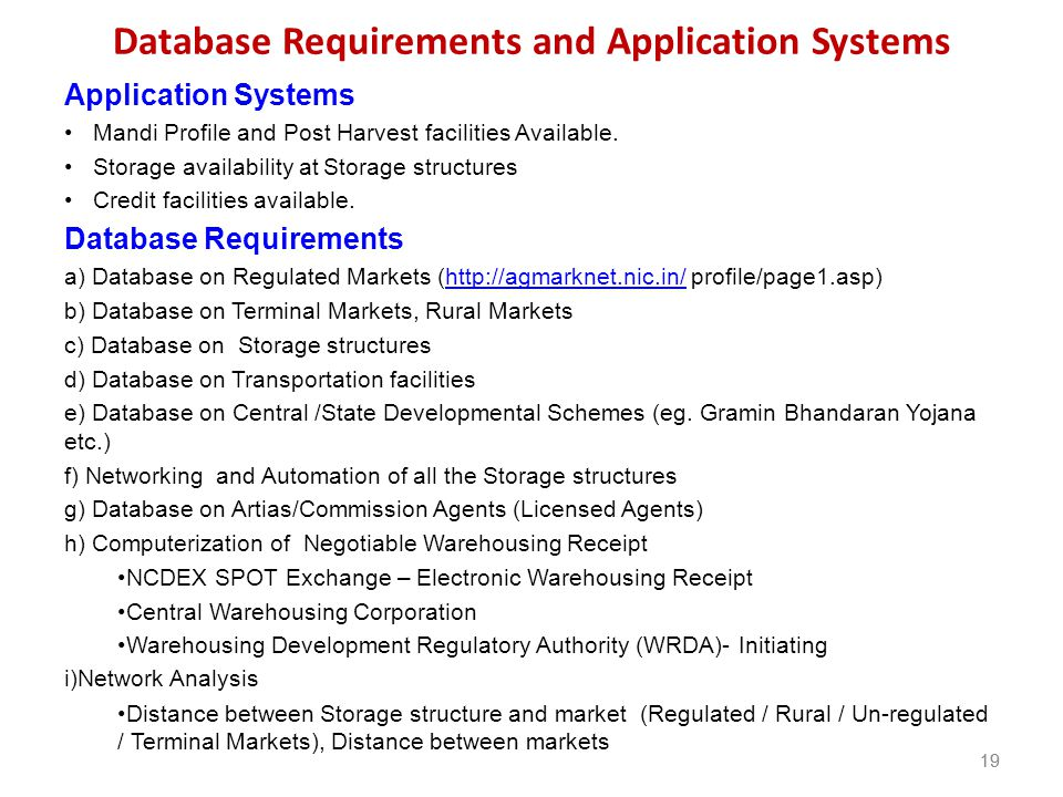 Database Requirements and Application Systems
