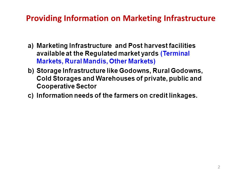 Providing Information on Marketing Infrastructure
