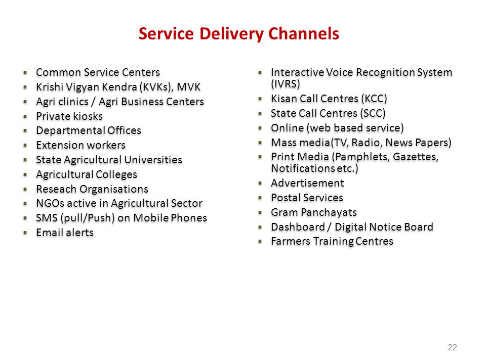 Service Delivery Channels