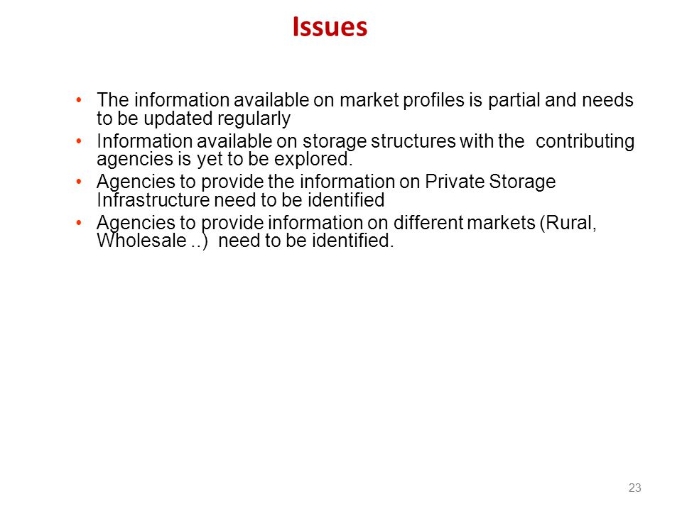 Issues The information available on market profiles is partial and needs to be updated regularly.