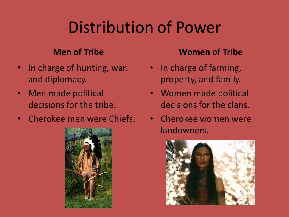 Distribution of Power Men of Tribe Women of Tribe