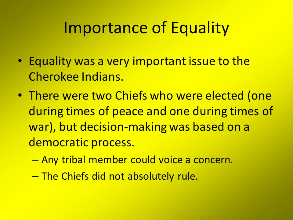 Importance of Equality