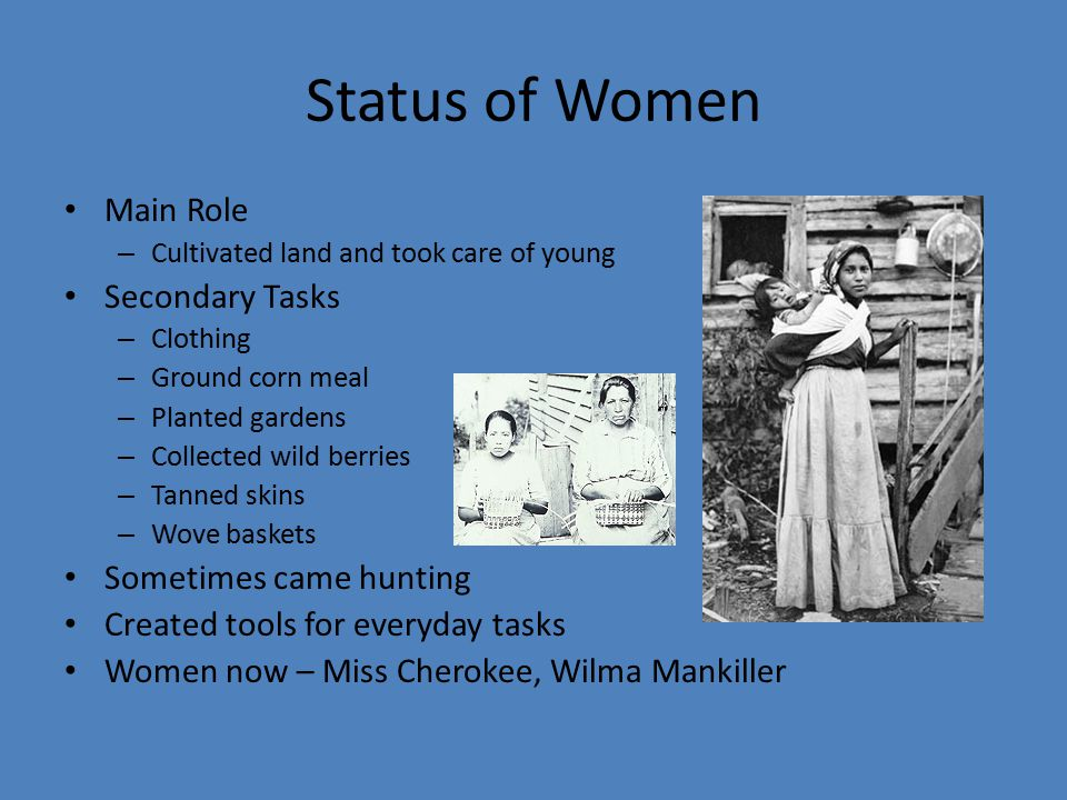 Status of Women Main Role Secondary Tasks Sometimes came hunting
