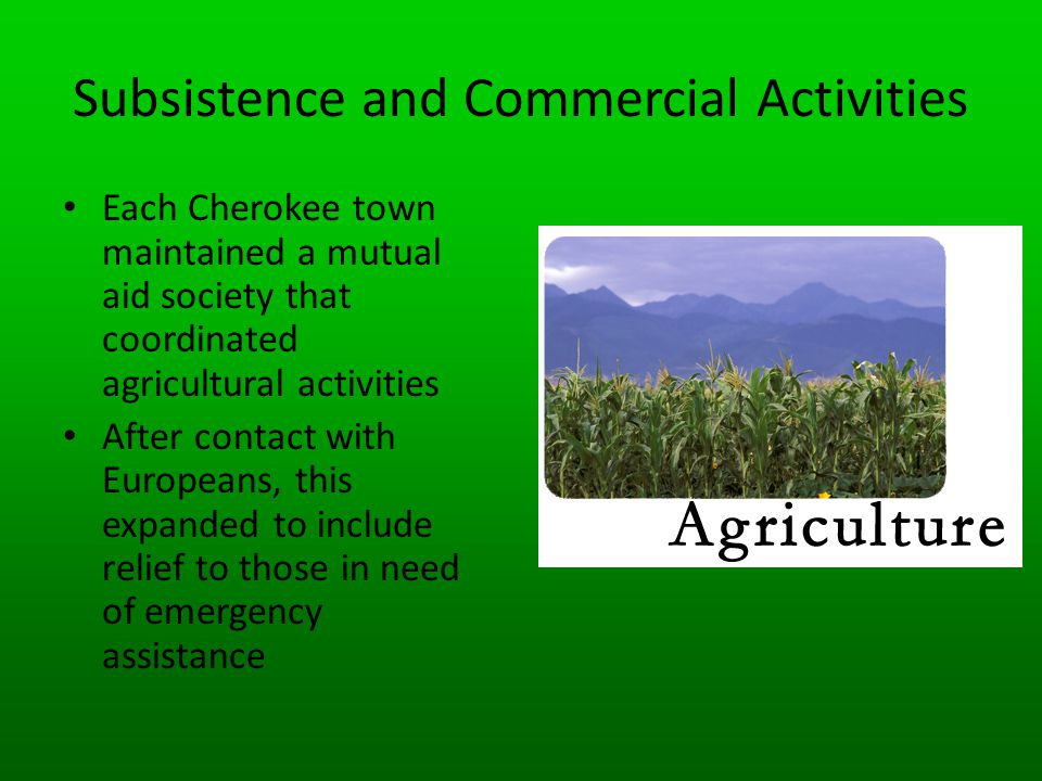 Subsistence and Commercial Activities
