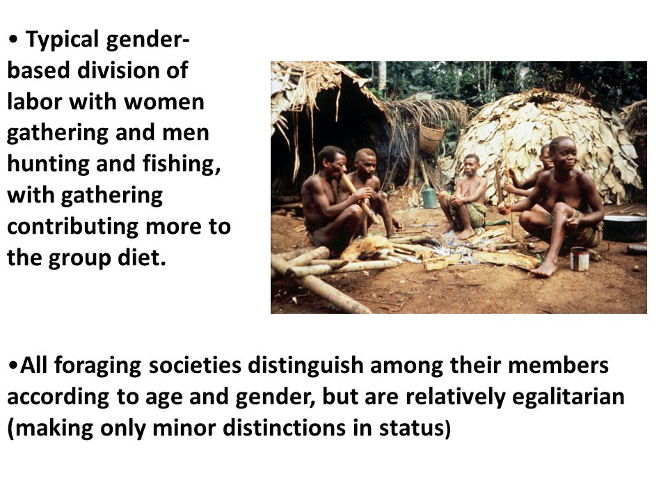 Typical gender-based division of labor with women gathering and men hunting and fishing, with gathering contributing more to the group diet.
