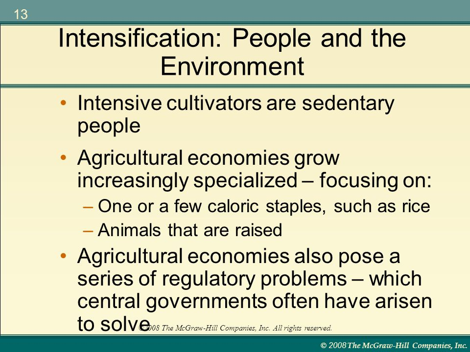 Intensification: People and the Environment