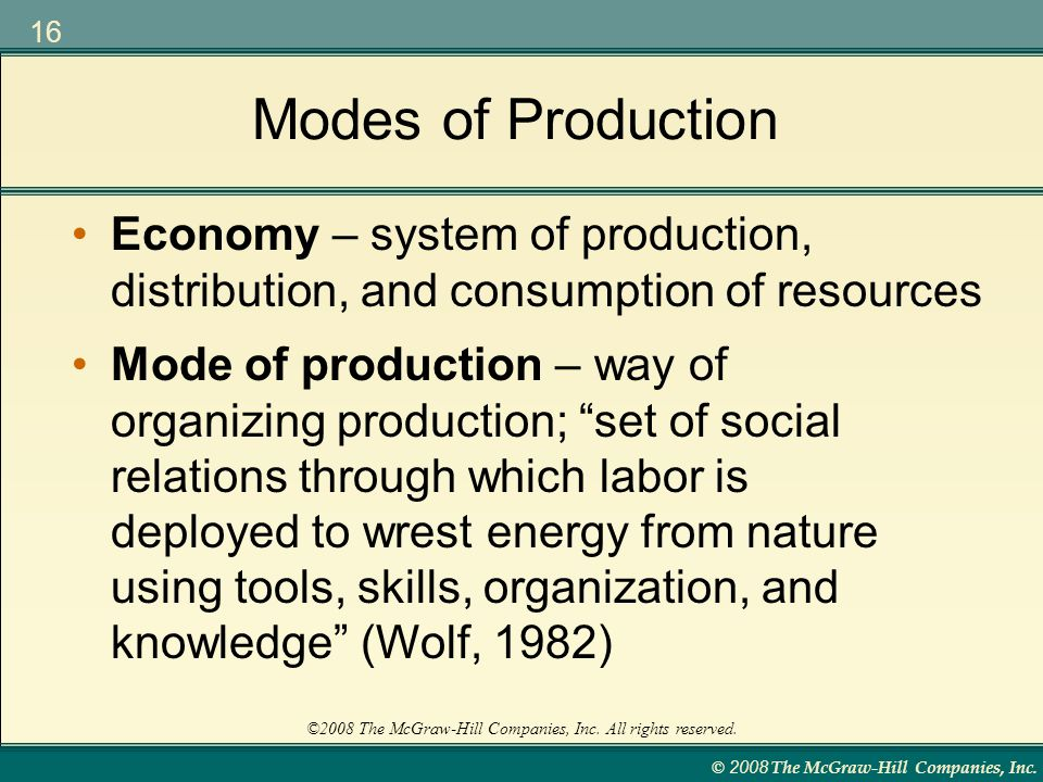 Modes of Production Economy – system of production, distribution, and consumption of resources.