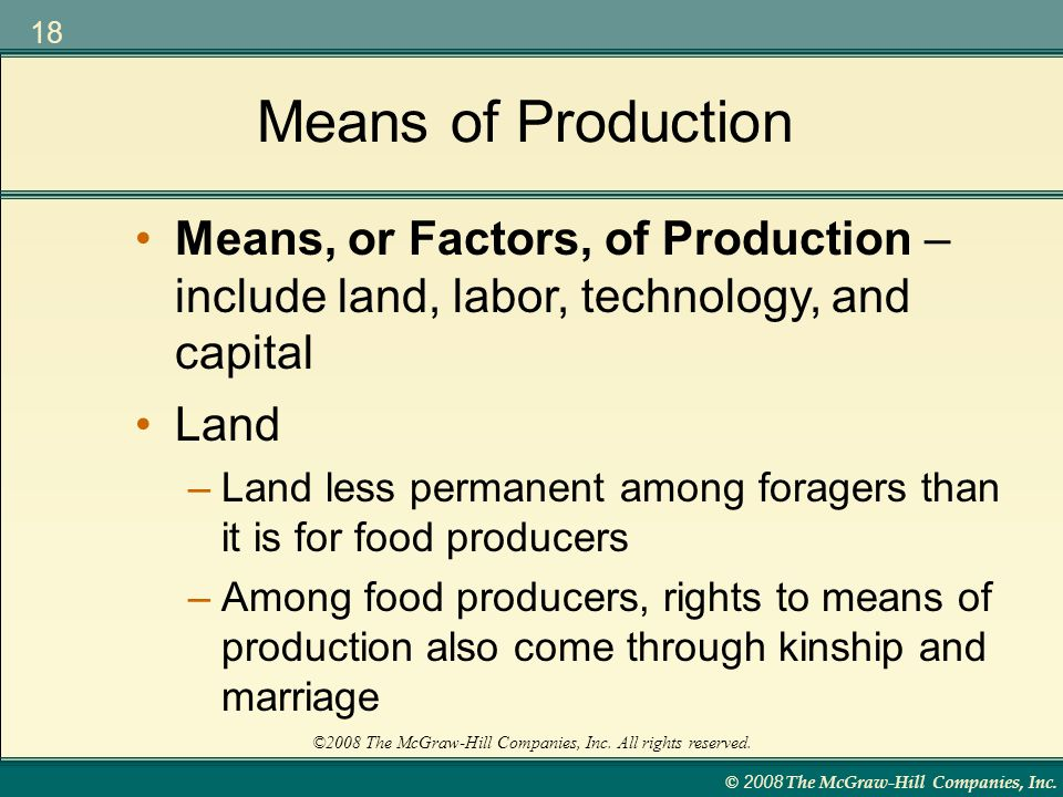 Means of Production Means, or Factors, of Production – include land, labor, technology, and capital.