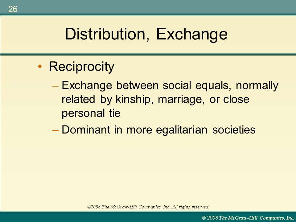 Distribution, Exchange