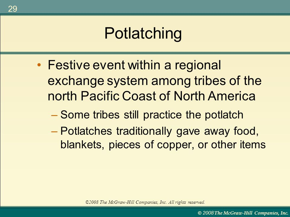 Potlatching Festive event within a regional exchange system among tribes of the north Pacific Coast of North America.