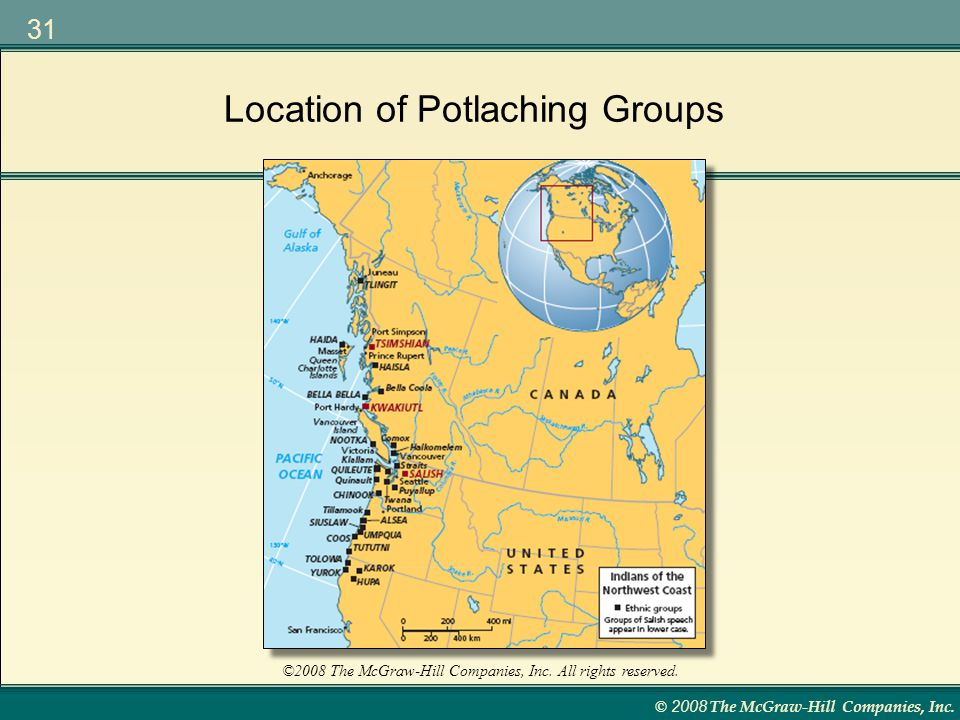 Location of Potlaching Groups