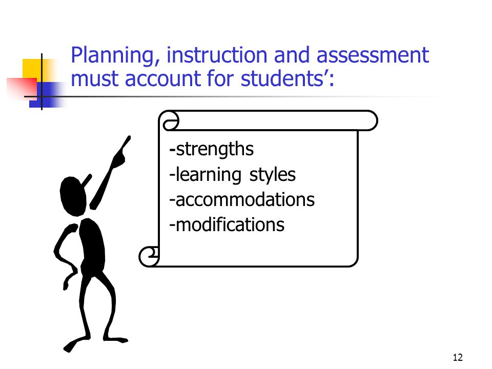 -learning styles -accommodations -modifications