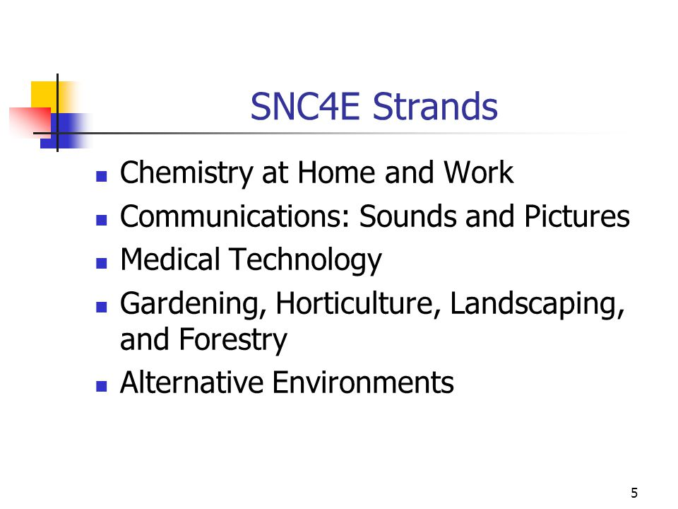 SNC4E Strands Chemistry at Home and Work