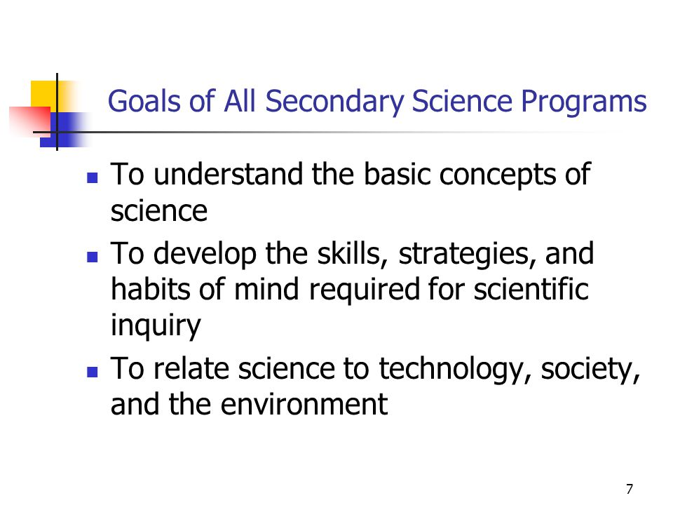 Goals of All Secondary Science Programs