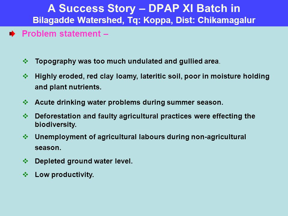 A Success Story – DPAP XI Batch in Bilagadde Watershed, Tq: Koppa, Dist: Chikamagalur