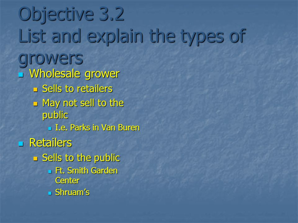 Objective 3.2 List and explain the types of growers