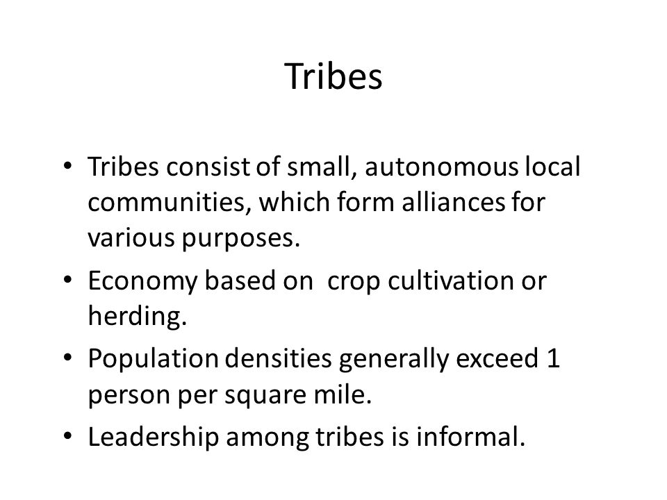 Tribes Tribes consist of small, autonomous local communities, which form alliances for various purposes.