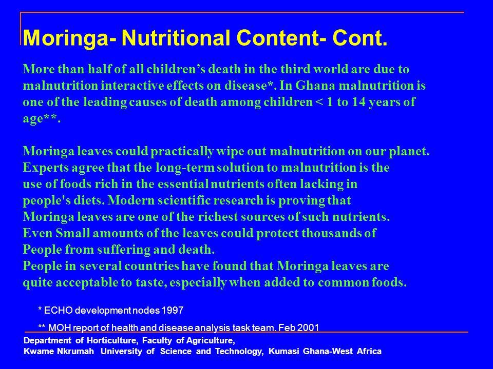 Moringa- Nutritional Content- Cont.