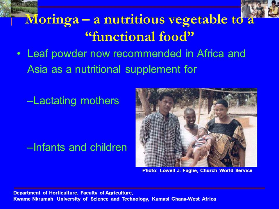 Moringa – a nutritious vegetable to a functional food
