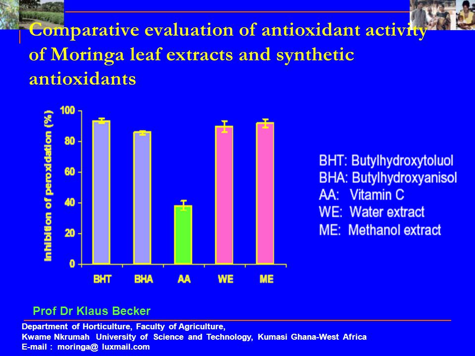 Comparative evaluation of antioxidant activity of Moringa leaf extracts and synthetic antioxidants