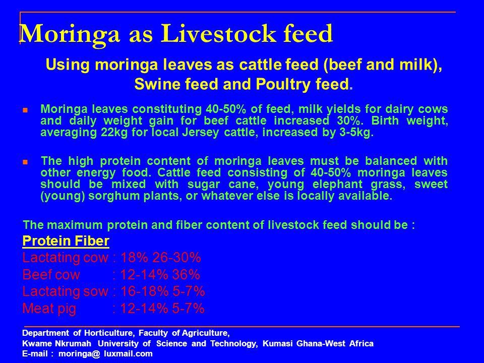 Moringa as Livestock feed