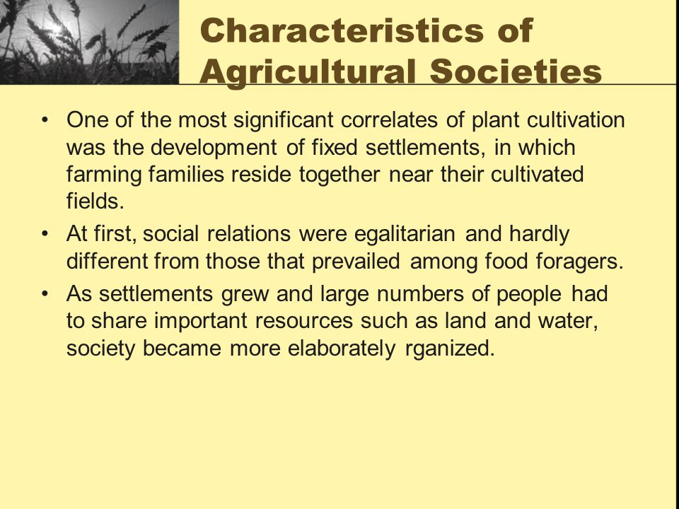 Characteristics of Agricultural Societies