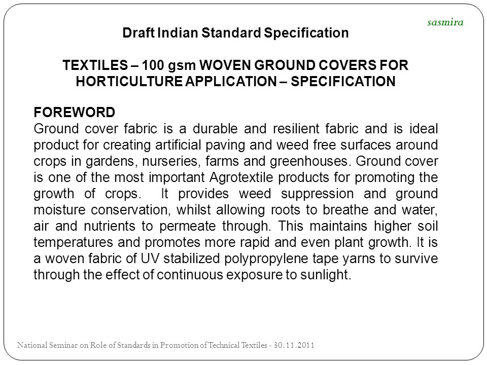 Draft Indian Standard Specification