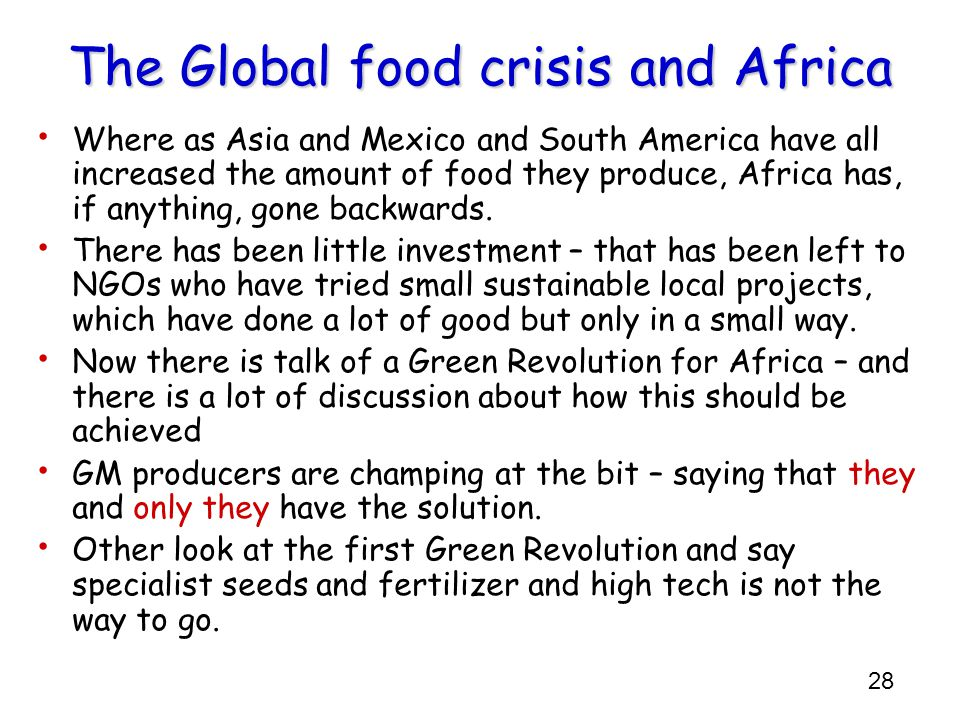 The Global food crisis and Africa