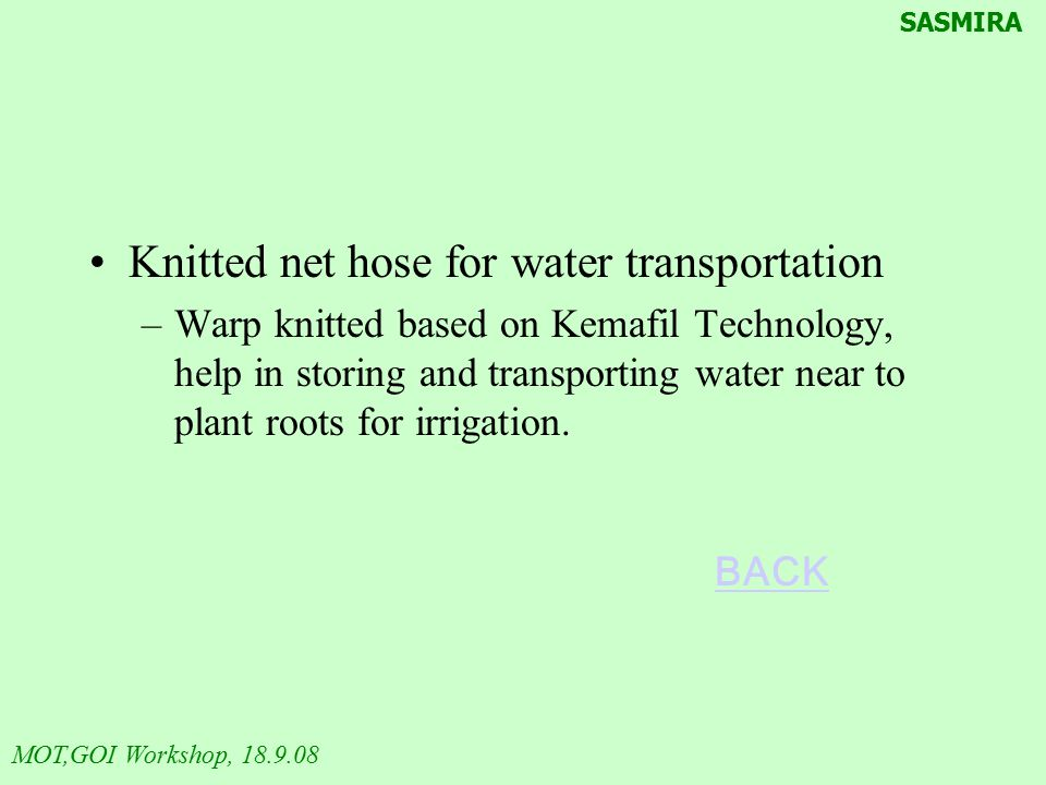 Knitted net hose for water transportation