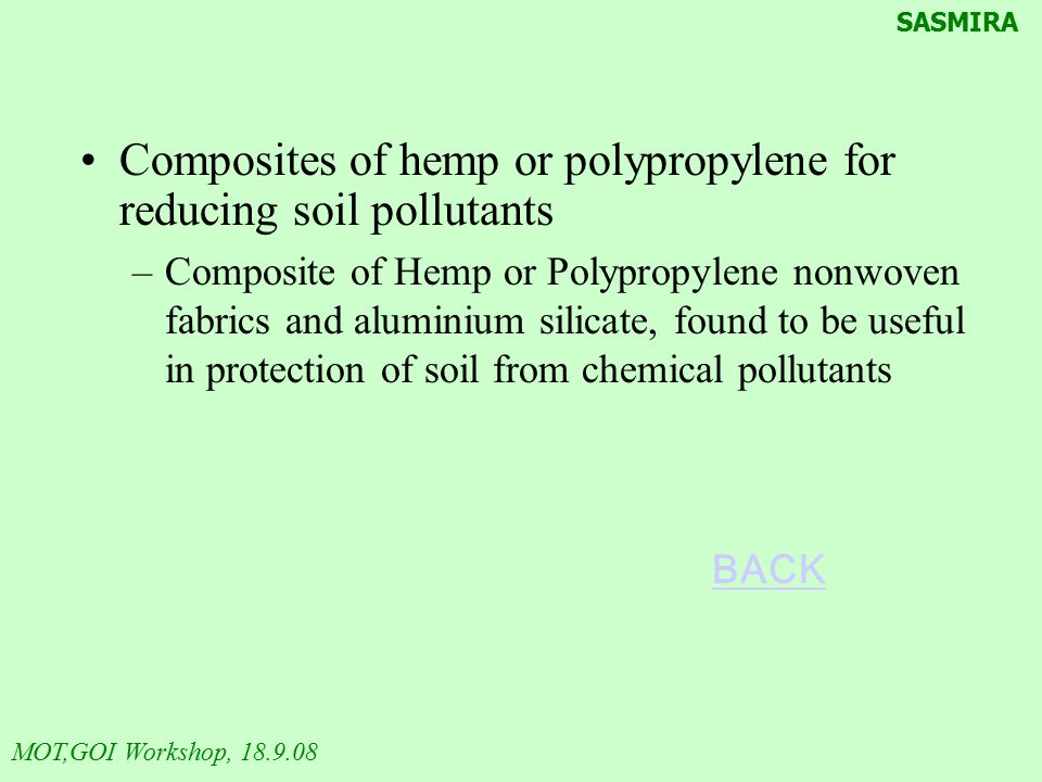 Composites of hemp or polypropylene for reducing soil pollutants
