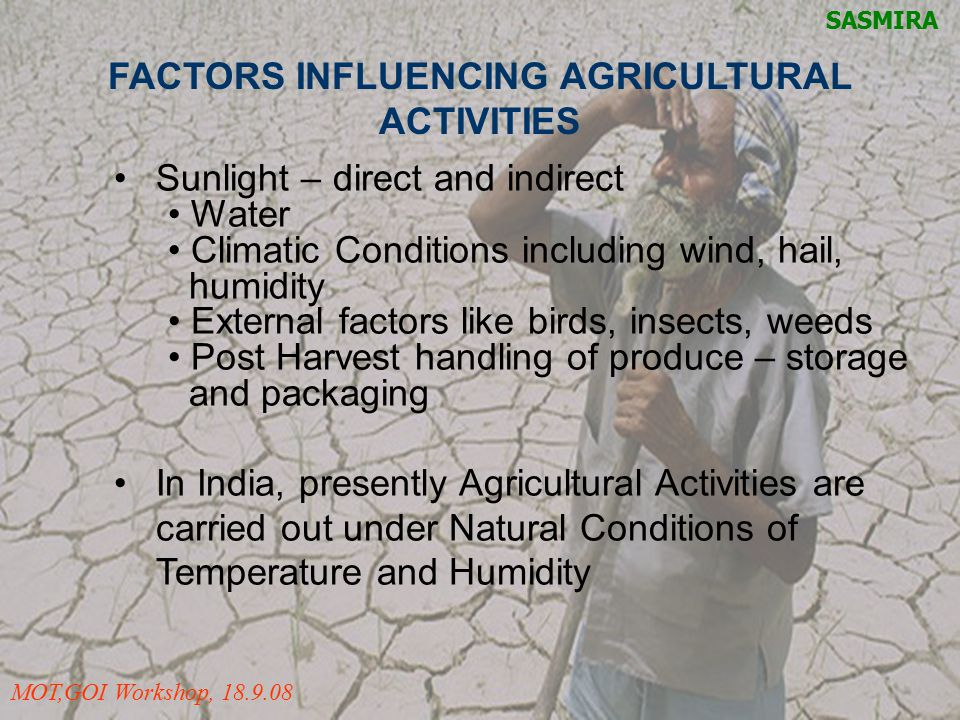 FACTORS INFLUENCING AGRICULTURAL ACTIVITIES